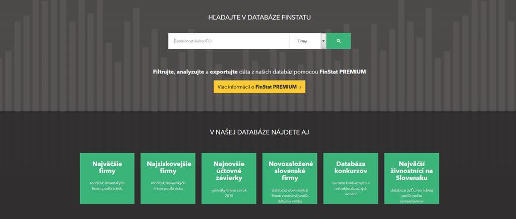 Náhľad zo stránky www.finstat.sk