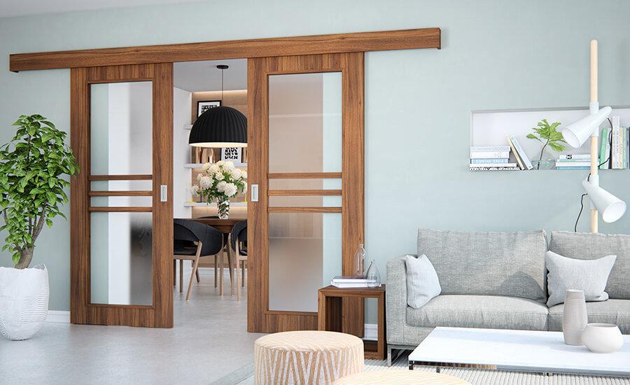 Posuvné dvere po stene - dvojkrídlové